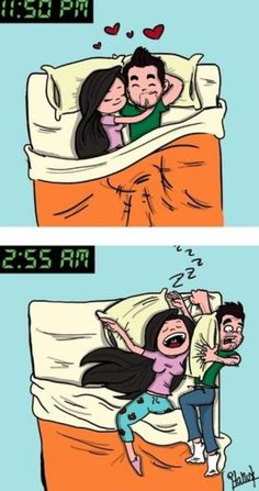 so true lol, poor Don he is always at the very edge of the bed with a small corner of the blanket! ;-()