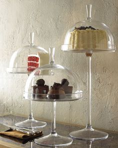 Mini Glass Cake Stands - Mouth-blown glass - Neiman Marcus