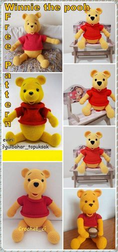 In this article we will share the amigurumi winnie the pooh crochet free pattern. Amigurumi related to everything you can not find and share with you. Crochet Baby Blanket Tutorial, Crochet Baby Dress Pattern, Crochet Patterns Amigurumi, Crochet Dolls, Knitting Patterns, Winnie The Pooh, Knitted Animals, Stuffed Toys Patterns, Free Crochet