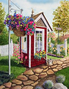 Trademark Global Mary Irwin 'Langley Garden Shed' Canvas Art - 35 x 47 Artist Canvas, Canvas Art, Decoupage, Country Art, Garden Art, Garden Sheds, Watercolor Paintings, Painting Art, Scenery