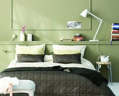 The colour range that is most associated with positive thinking is the yellow-green-blue part of the spectrum. Bedroom Green, Bedroom Colors, Sico, Palette, Paint Swatches, Color Trends, Home Projects, Guest Room, Paint Colors