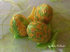 Wiosenne trio zestaw 10 cm – Ozdoby wielkanocne - kolor: jasnożółty, żółty, jasnozielony – Artillo