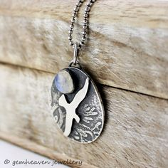 Sterling silver Bird necklace moonstone and silver by gemheaven, £48.00