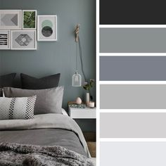 12 best color schemes for your bedroom - grey color scheme for bedroom deco Grey Bedroom Colors, Bedroom Colour Palette, Bedroom Color Schemes, Interior Design Color Schemes, Gray Bedroom, Gray Color Schemes, Apartment Color Schemes, Master Bedroom, Bedroom Neutral