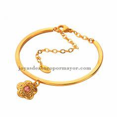 diseños de pulseras de cristal de oro dorado en acero con dije de flor al por mayor