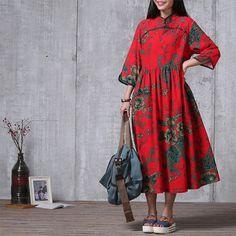 Suelto casual conexión algodón largo vestido rojo  vestido de