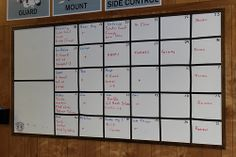 """The training schedule at Dojo Kyle is planned out months in advance and each month is put on this board.  """"If you fail to plan, you plan to fail!"""" #bjj #martialarts"""