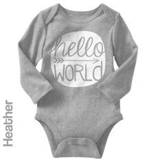Hello World - Long Sleeve Infant Onesie   One-Piece Bodysuit   Baby Clothes   Also On Etsy