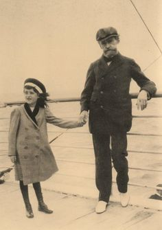 """Huguette Clark on a ship with her father, W.A. Clark, the copper miner and former senator, in the 1910s. The familiy held tickets on the return trip of the Titanic in 1912, though as Huguette explained some 80 years later, """"We took another boat."""""""