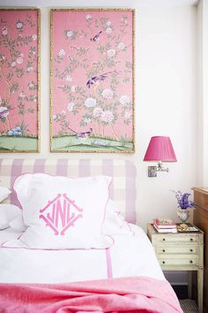 Lavender gingham upholstered headboard in a bedroom decorated by interior designer Nick Olsen. Love the pink chinoiserie wallpaper panels in gilt bamboo frames and monogrammed euro shams -- the prettiest pillows! Also love the the swing arm sconce. Dream Bedroom, Home Bedroom, Bedroom Decor, Pretty Bedroom, Shabby Bedroom, Master Bedroom, Pink Bedrooms, Girls Bedroom, French Bedrooms