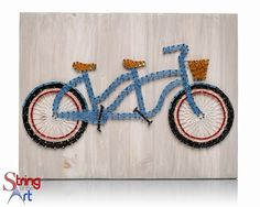 DIY String Art Kit - Tandem Bike String Art, Beach Whitewash wood board, baby blue two seat bicycle string art. This DIY Kit includes String of the Art's special Whitewash stain formula on a pine wood board that is HAND sanded and HAND stained, highest quality embroidery floss, easy to follow instructions, and a pattern template. Visit www.StringoftheArt.com to learn more about how you can string together this awesome Tandem Bicycle String Art Kit.