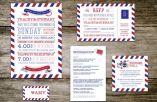 Passport graphic wedding invitation set