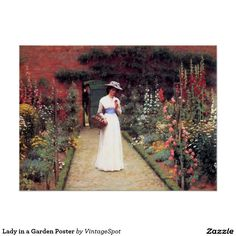 Lady in a Garden Poster
