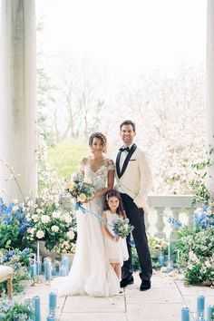 """Photographer @kyleeyeephoto says, """"Using the details from the interior design such as the blue found in the floral paintings in the drawing-room, complemented with a palette of neutral tones from the estate's exterior façade, allowed the nod towards the time-honored tradition of 'something blue'."""" We never thought we'd see something so beautiful! 😍 #stylemepretty #bluewedding #weddinginspiration"""