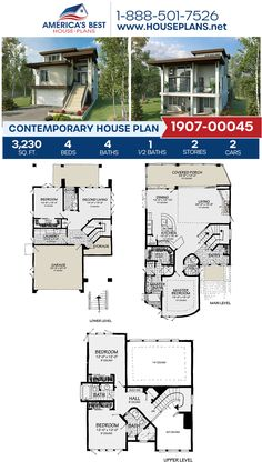 If you love the Contemporary style, get to know Plan 1907-00045. It offers 3,230 sq. ft., 4 bedrooms, 4.5 bathrooms, an open floor plan, and a 2 car garage. #contemporaryhome #openfloorplan #twostoryhome #architecture #houseplans #housedesign #homedesign #homedesigns #architecturalplans #newconstruction #floorplans #dreamhome #dreamhouseplans #abhouseplans #besthouseplans #newhome #newhouse #homesweethome #buildingahome #buildahome #residentialplans #residentialhome Best House Plans, Dream House Plans, Contemporary House Plans, Contemporary Style, Two Story Homes, Flat Roof, House Layouts, Open Floor, Car Garage