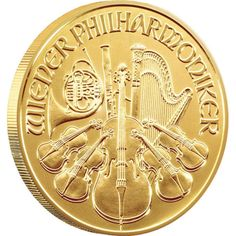 The Austrian Philharmonics Gold Coins are struck in 99.99% solid gold. The musical instruments appearing on each gold coin honor the world-famous Vienna Philharmonic Orchestra.