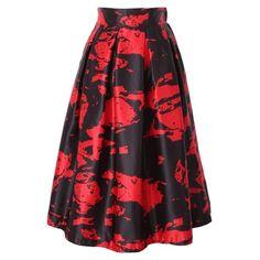 Fashionable Print Elastic Waist Pleated Midi Skirt ($15) ❤ liked on Polyvore featuring skirts, print midi skirt, knee length pleated skirt, red midi skirt, red skirt and elastic waistband skirt