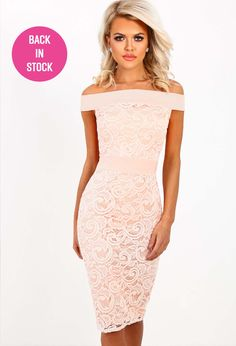 Mystery Love Nude Lace Bardot Midi Dress 389086d3ad0b