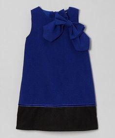 Another great find on Royal Blue Bow Wool-Blend A-Line Dress - Toddler & Girls Kids Dress Wear, Little Girl Outfits, Toddler Girl Dresses, Kids Outfits, Girls Dresses, Toddler Girls, Baby Girl Dress Patterns, Baby Dress, Tween Fashion