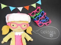 Removable felt Glasses for Studio Dolls. Made from thick felt and elastic. Available in two styles and variety of colors. *Designed and handmade by