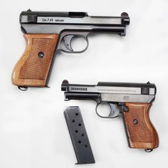 Mauser Model 1934 Pistol - Made in Oberndorf, Germany – our GOTD was the last version of the 7.65mm handgun design brought into production in time for WWI. But by WWII, Mauser's Model 1934 was losing ground to designs like the Walther PPK & its brother Mauser HSc pistols. Small pocket-sized pieces were worn as symbols of rank by officers in German military & law enforcement branches. An important feature in the M1934 was the cocking indicator at the rear of the slide. NRA Museum in Fairfax…