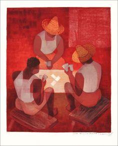 """TOFFOLI Louis - Lithographie Originale """"Joueurs de cartes à Bahia"""" 59x50cm - 1969"""