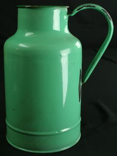 Antique French - Enameled Milk Jug - phenomenal green