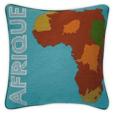 afrique needlepoint pillow