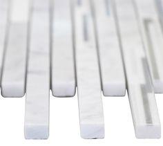 "Bright White Matte Random Brick Pattern Marble Stone Tiles Product Description Sheet Size: 15"" x 12"" 3/8"" Tile Size: Random Finished: Tumbled HTCESMB3"