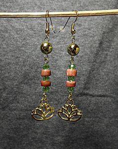 Earrings Lotus/ Boho-Look / Earrings Coral and von NadejdaFashion