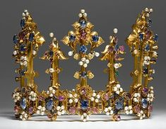 The Palatine/Bohemian Crown, dating circa 1370's the oldest surviving royal crown known to have been in England.  Dowry of Princess Blanche of England, daughter of King Henry IV. Likely it previously belonged to Queen Anne of Bohemia, wife of Richard II.  Thanks Colleen Weiserman.