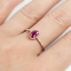 14k Rose Gold Ruby Ring natural ruby ring july by EnveroJewelry