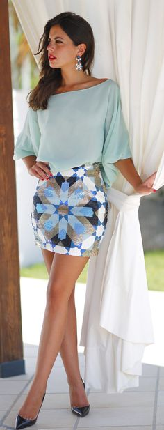 Patterned Sequin Mini Skirt
