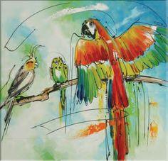awx496d schilderij papegaai met andere vogels diverse afmetingen - kopen bij mooiaandemuur.com