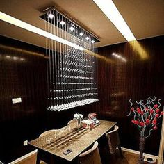 Modern Luxury LED RainDrop Crystal Chandelier Home Ceiling Lighting Fixture 3d Wall Panels, Wood Panel Walls, Wood Wall, Indirect Lighting, Flush Mount Lighting, Ceiling Light Fixtures, Ceiling Lamp, Ceiling Ideas, Ceiling Lighting
