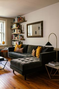 """A Sven sectional from Article provides maximum seating in the small apartment."" Platform: Curbed Influencer: Coil + Drift Photographer: Read Mckendre living room seating Sven Shadow Gray Right Sectional Sofa Home Interior Design, House Interior, Apartment Decor, Home, Living Decor, Apartment Living, Minimalist Home, Living Room Designs, Home Furnishings"
