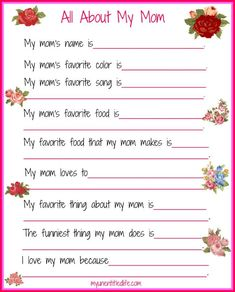 are you looking for a fun mother's day printable that answers the questions we want to know about mom? I've got a free one for you here. all about my mom printable for mothers day a great printable for kids to fill out about their mom Mothers Day Decor, Mothers Day Crafts For Kids, Fathers Day Crafts, Mothers Day Cards, Mothers Love, Kid Crafts, Crafts Cheap, Yarn Crafts, Happy Mothers