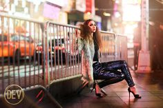 Senior picture portrait ideas New York City NYC christmas time times square fashion editorial sequins lights