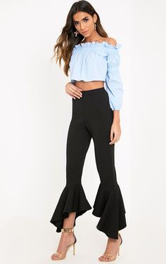 Extra Off Coupon So Cheap PrettyLittleThing Lourde Blk Asymmetric Flare Hem Trousers Size UK 4 ii 17 Winter Mode Outfits, Winter Fashion Outfits, Chic Outfits, Slacks For Women, Trousers Women, Clothes For Women, Flare Leg Pants, How To Hem Pants, Cute Pants