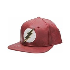 Flash Metal Logo Faux Leather Snapback Hat ( 25) ❤ liked on Polyvore  featuring accessories b2b2a43a3e