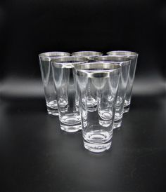 Mid Century Collins Glasses Hi-Ball Tumblers Sterling Silver Overlay Rim Dorothy Thorpe Style Vintage Crystal Glassware, Glass Ceramic, Tumblers, Overlay, Shot Glass, Vintage Items, Mid Century, Sterling Silver, Crystals