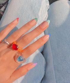 Manicure, Gel Nails, Cute Nail Designs, Acrylic Nail Designs, Stylish Nails, Trendy Nails, Simple Acrylic Nails, Almond Nails Designs, Nail Ring