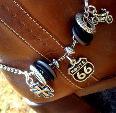 Boot Bling Boot Bracelet - Get Your Kicks  - Black, Silver, Chain, Cowgirl, Route 66, Country, Motorcycle, Bike, Iron Cross on Etsy, $15.00