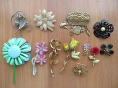 Floral brooches mixed lot of 12 vintage pins 1950s to by lolatrail