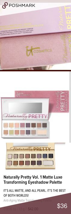It Cosmetics Naturally Pretty Matte LuxeEyeshadow Palette includes all the shades you need to take you from day to night. Formulated without talc, with lid-loving ingredients including Peptides, Collagen, Silk and Antioxidants! Limited Edition Shades: Sheer Joy – matte soft peach, Warmth -warm beige, Soulful – warm rosy-beige, Mocha –light sable, Violet –lilac, Midnight – gray-navy, Noir –black Love –dusty soft pink Sunrise –soft amber Sunset –rich amber All Heart – warm mauve Java –…