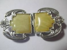METAL CELLULOID ETCHED ART DECO TWO PIECE BUCKLE SASH ART DECO YELLOW MARBLED