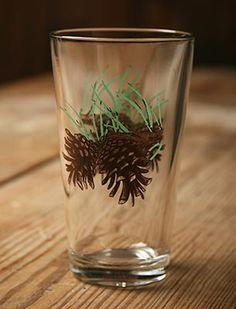 Double PineCones Pine Needles Iced Tea Tumbler Glasses Rustic Cabin Lodge  Decor Dining American Made In Usa Glassware