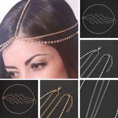 Hippie Retro Headchain Headband head piece chain leaves elastic hair band UK
