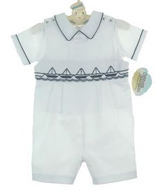 NEW Carriage Boutiques White Smocked Shortall Set with Embroidered Sailboats $65.00