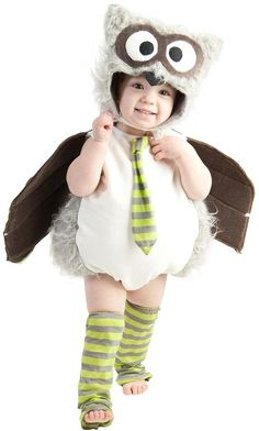 Buy Owl Halloween Costume 6 Months - Let your night owl have some fun trick or treating this Halloween! Our adorable Owl Halloween Costume includes a jumpsuit with attached wings and tie, a hood and striped leg warmers. Toddler Owl Costume, Baby Owl Costumes, Owl Halloween Costumes, Fete Halloween, First Halloween, Cute Costumes, Halloween Kids, Infant Halloween, Costume Ideas